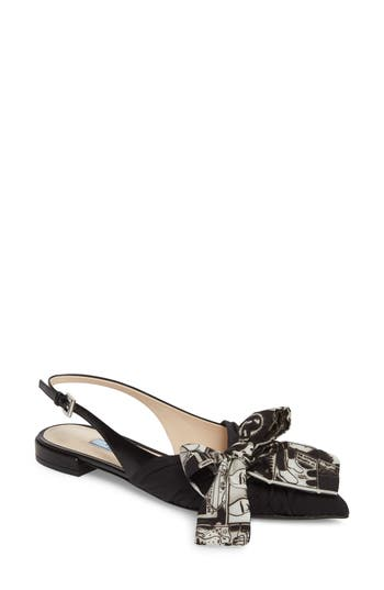 Bow Pointy Toe Bow Flat by Prada