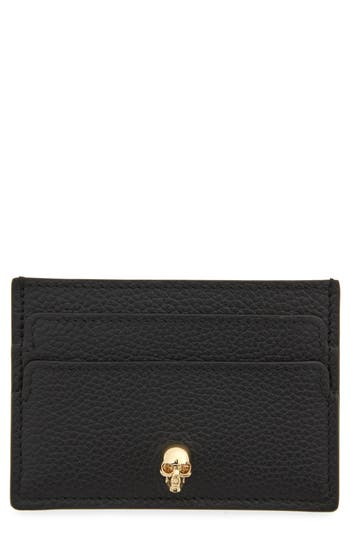 Skull Calfskin Leather Card Case by Alexander Mcqueen