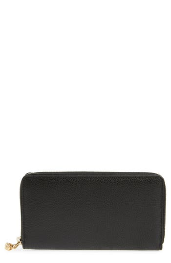 Alexander McQueen Skull Charm Calfskin Leather Zip Around Wallet