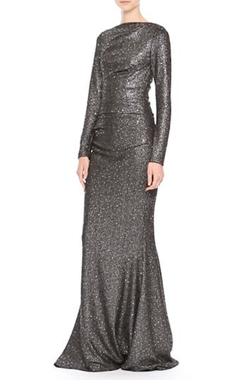 Sequin Glitter Jersey Ruched Gown, video thumbnail