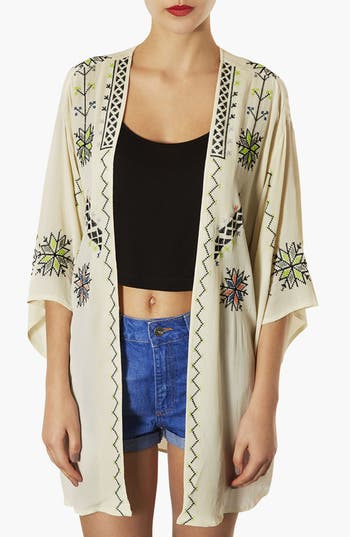 Alternate Image 1 Selected - Topshop Embroidered Kimono Jacket