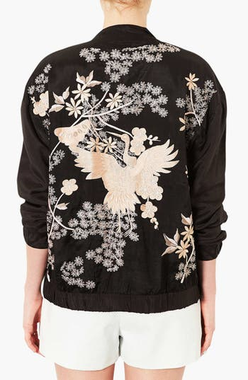 Alternate Image 2  - Topshop 'Chinoiserie' Embroidered Bomber Jacket