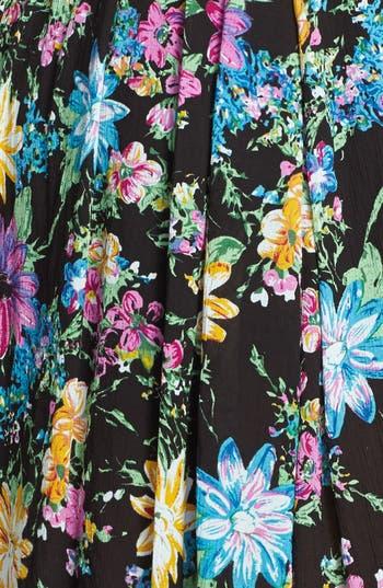 Double Front Slit Midi Skirt,                             Alternate thumbnail 4, color,                             Black Floral