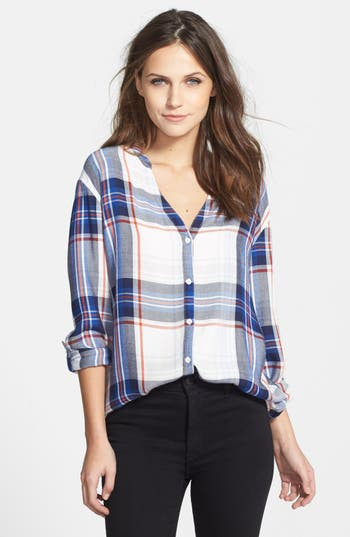 Soft joie 39 dane 39 collarless plaid shirt nordstrom for Soft joie plaid shirt