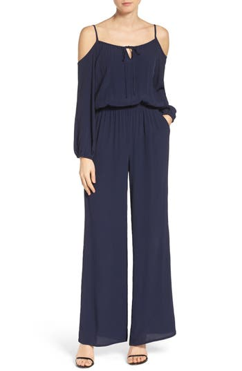 Fraiche by J Cold Shoulder Crepe Jumpsuit