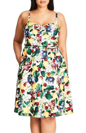 City Chic Fruit Salad Fit & Flare Sundress (Plus Size)