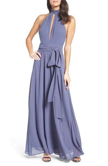 Lulus Ruffle Neck Halter Gown