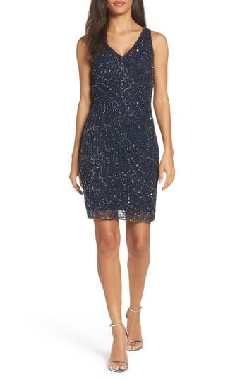 Pisarro Nights Beaded Sheath Dress (Regular & Petite)