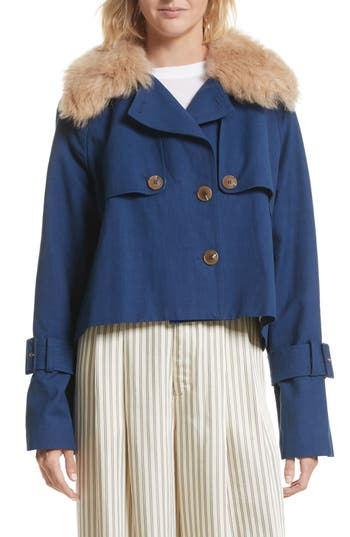 Sea Crop Trench Coat with ..