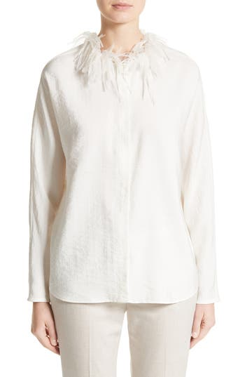 Fabiana Filippi Silk Blend Twill Blouse with Organza Collar