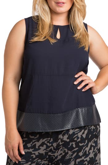 Blake Faux Leather Trim Top by Standards & Practices