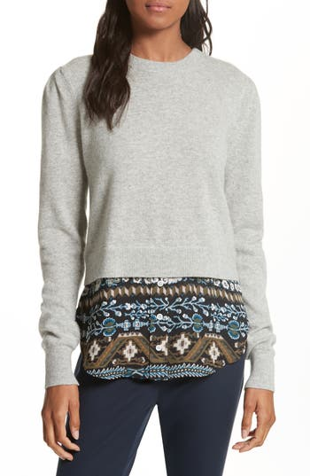 Veronica Beard Jenson Layered Hem Cashmere Sweater