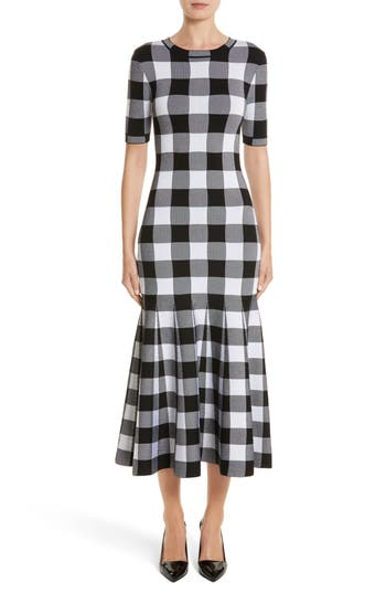 Oscar de la Renta Buffalo Check Knit Flare Hem Dress