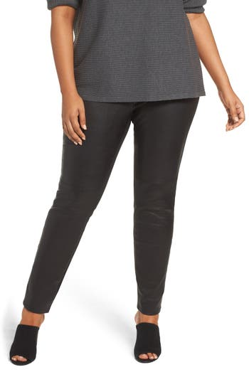 Eileen Fisher Leather Front Leggings (Plus Size)