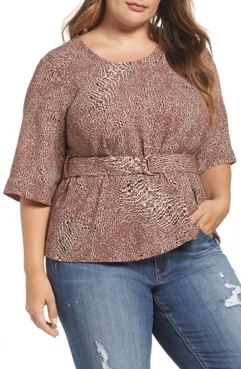 Melissa McCarthy Seven7 D-Ring Belt Blouse (Plus Size)
