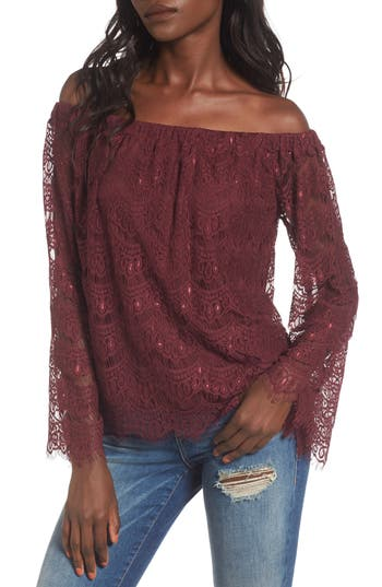 Love, Fire Lace Off the Shoulder Top