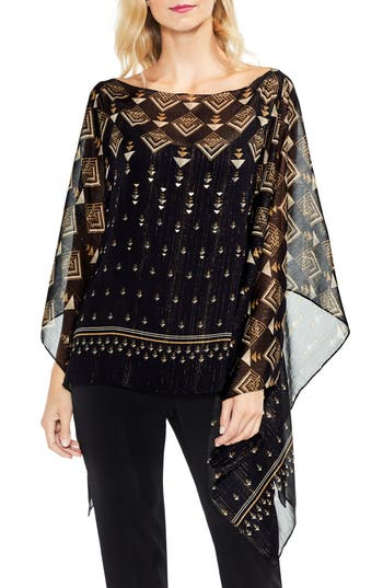 Vince Camuto Deco Highlights Panel Print Top (Regular & Petite)