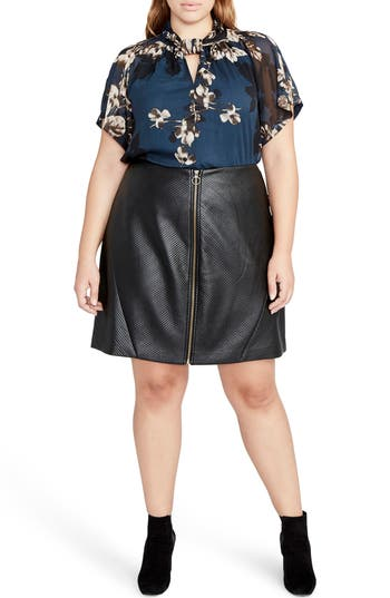 RACHEL Rachel Roy Faux Leather Miniskirt (Plus Size)