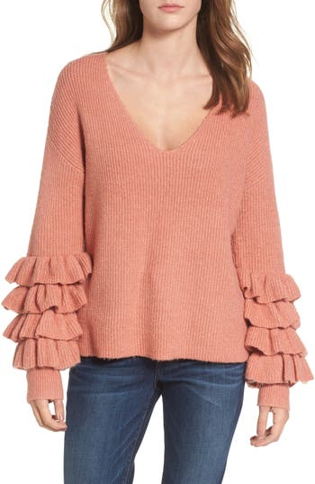 BP. Ruffle Sleeve V-Neck Sweater