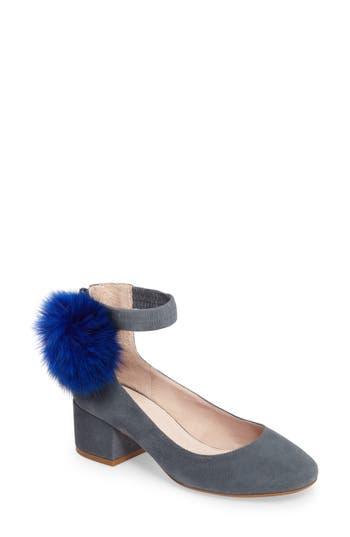 Cecelia Liv Genuine Fox Fur Pom Ankle Strap Pump (Women)