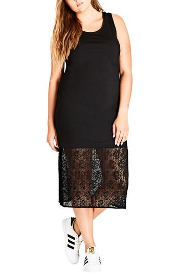 City Chic Lace Hem Longlin..
