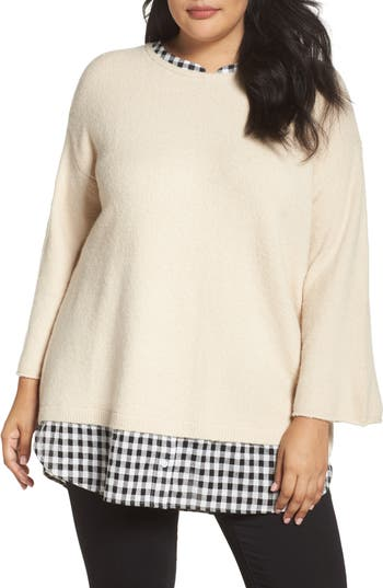 Caslon® Cozy Layered Sweater (Plus Size)