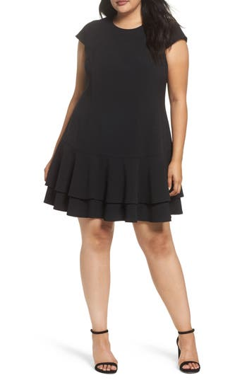 Eliza J Crepe Drop Waist Dress (Plus Size)