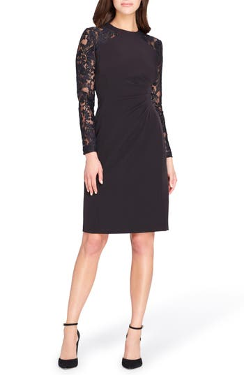 Tahari Lace Ruched Body-Con Dress