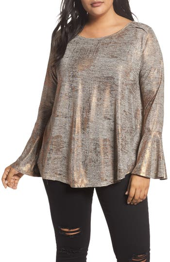 Dantelle Bell Cuff Foiled Knit Top (Plus Size)