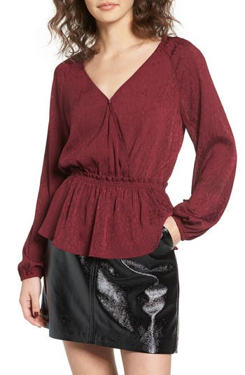 Leith Faux Wrap Peplum Top