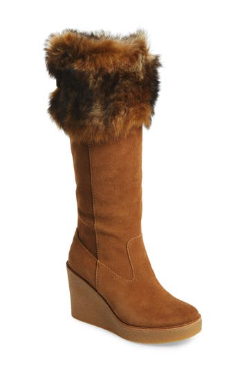 UGG? Valberg Genuine Shearling Cuff Wedge Boot (Women)