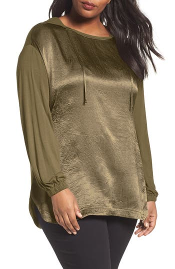 Sejour Mixed Media Hoodie (Plus Size)