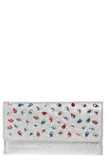 Loeffler Randall Everything Crystal Embellished Leather Wallet