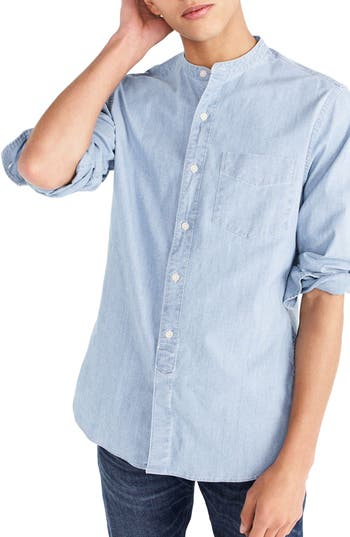 J.Crew Stretch Chambray Band Collar Shirt by J. Crew