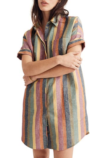Courier Rainbow Stripe Linen & Cotton Shirtdress by Madewell