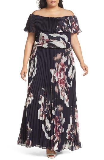 Xscape Floral Pleat Off The Shoulder Ruffle Gown Plus Size