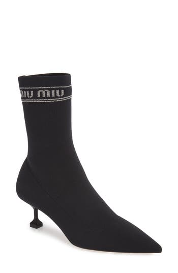 Logo Sock Bootie by Miu Miu