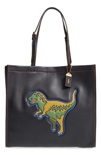 Coach 1941 Skinny 34 Rexy Dinosaur Embossed Leather Tote