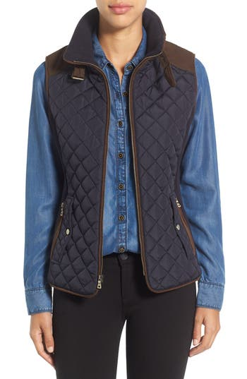 Gallery Quilted Vest with Faux Suede Trim (Regular & Petite)