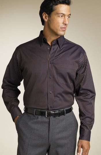 Bugatchi hidden button down collar stripe shirt nordstrom for Hidden button down collar shirts
