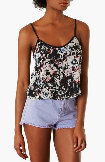 Alternate Image 1 Selected - Topshop 'Floral Grid' Crop Camisole (Petite)