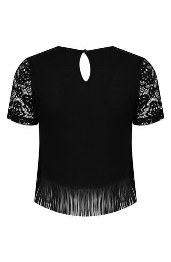 Alternate Image 2  - Topshop Fringed Lace Top (Petite)