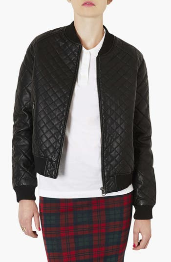 Alternate Image 1 Selected - Topshop Quilted Bomber Jacket