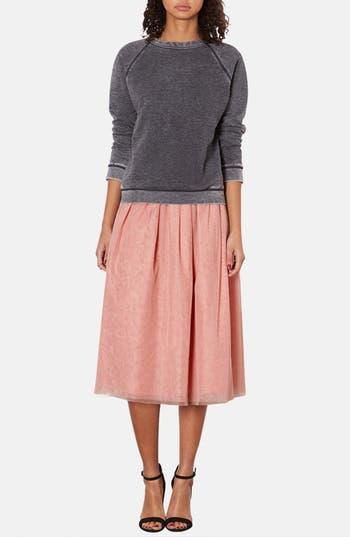 Alternate Image 4  - Topshop Pleated Mesh Midi Skirt