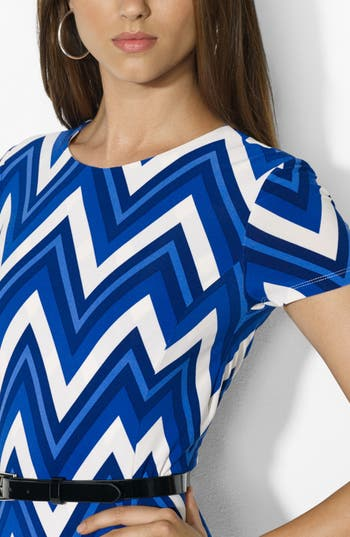 Alternate Image 3  - Lauren Ralph Lauren Belted Print Jersey Crewneck Dress