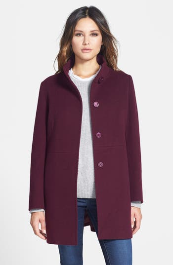 Cinzia Rocca Due Stand Collar Wool Blend Coat Petite