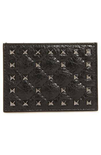 VALENTINO GARAVANI Rockstud Leather Card Case