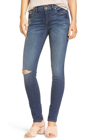 KUT from the Kloth Diana Ripped Stretch Skinny Jeans (Valorous) (Regular & Petite)