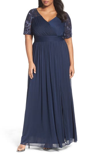 Adrianna Papell Tulle & Sequin Gown (Plus Size)