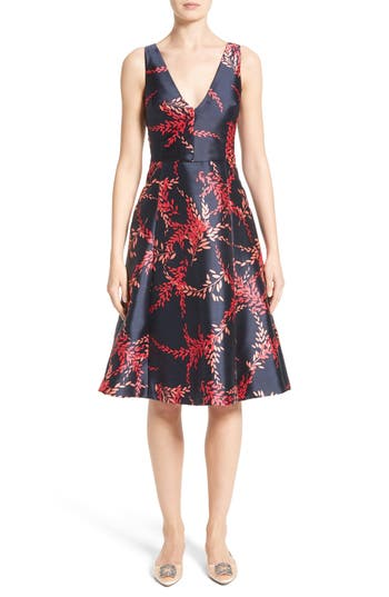 Oscar de la Renta Leaf Print Silk & Cotton Dress